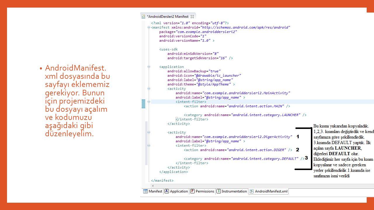 AndroidManifest.xml dosyasında bu sayfayı eklememiz gerekiyor.