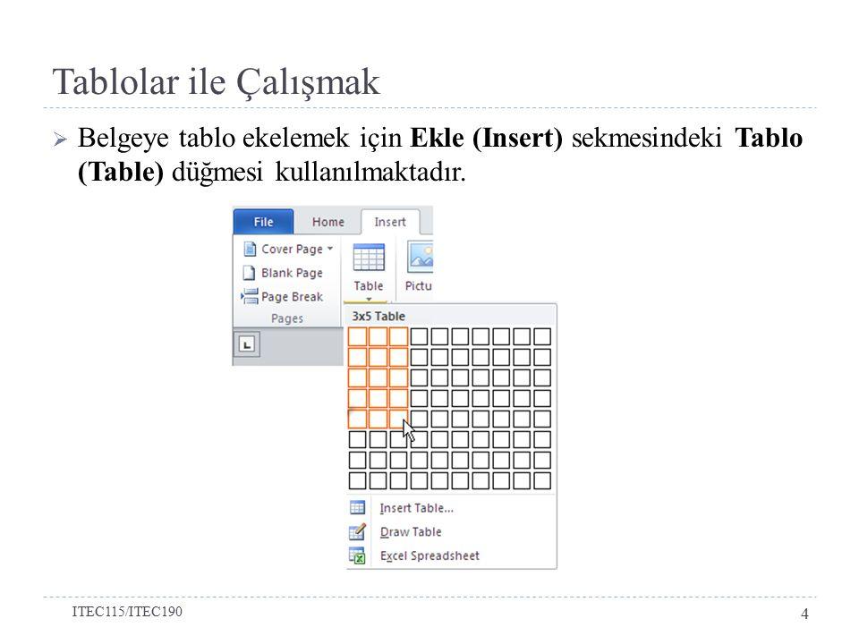 Tablolar ile Çalışmak  Eğer eklenecek tablonun satır ve sütun sayısı ekranda görünen kutu sayısından fazla ise, Tablo Ekle (Insert Table) seçeneği seçilerek istenildiği kadar satır ve sütun sayısı yaratılabilir.