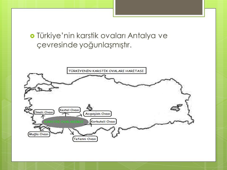  Türkiye'nin karstik ovaları Antalya ve çevresinde yoğunlaşmıştır.