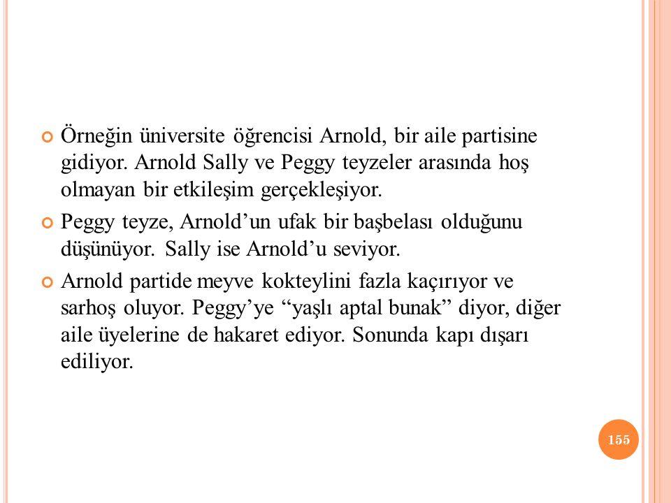 Örneğin üniversite öğrencisi Arnold, bir aile partisine gidiyor. Arnold Sally ve Peggy teyzeler arasında hoş olmayan bir etkileşim gerçekleşiyor. Pegg