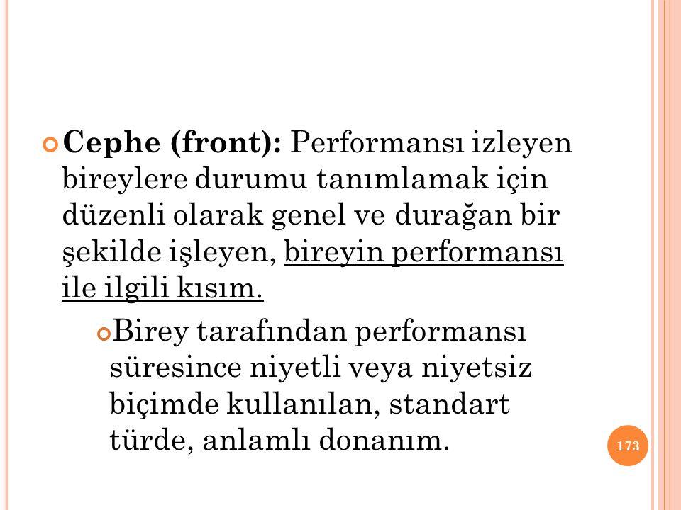 Cephe (front): Performansı izleyen bireylere durumu tanımlamak için düzenli olarak genel ve durağan bir şekilde işleyen, bireyin performansı ile ilgil