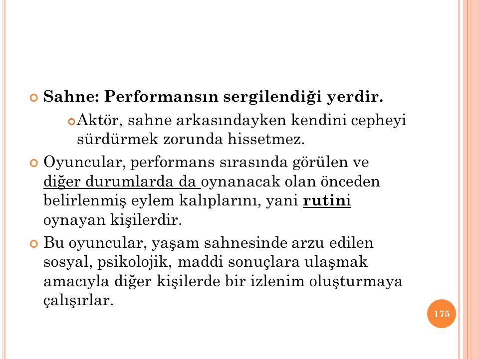 Sahne: Performansın sergilendiği yerdir. Aktör, sahne arkasındayken kendini cepheyi sürdürmek zorunda hissetmez. Oyuncular, performans sırasında görül