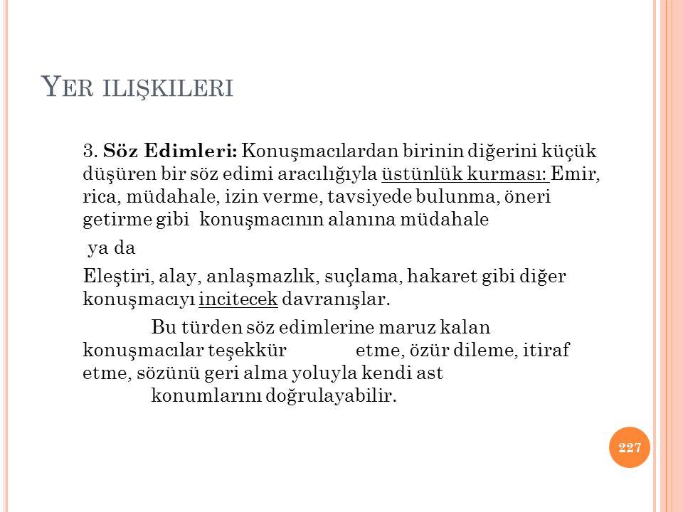 Y ER ILIŞKILERI 3.