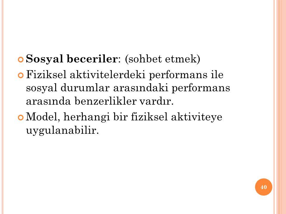 Sosyal beceriler : (sohbet etmek) Fiziksel aktivitelerdeki performans ile sosyal durumlar arasındaki performans arasında benzerlikler vardır.