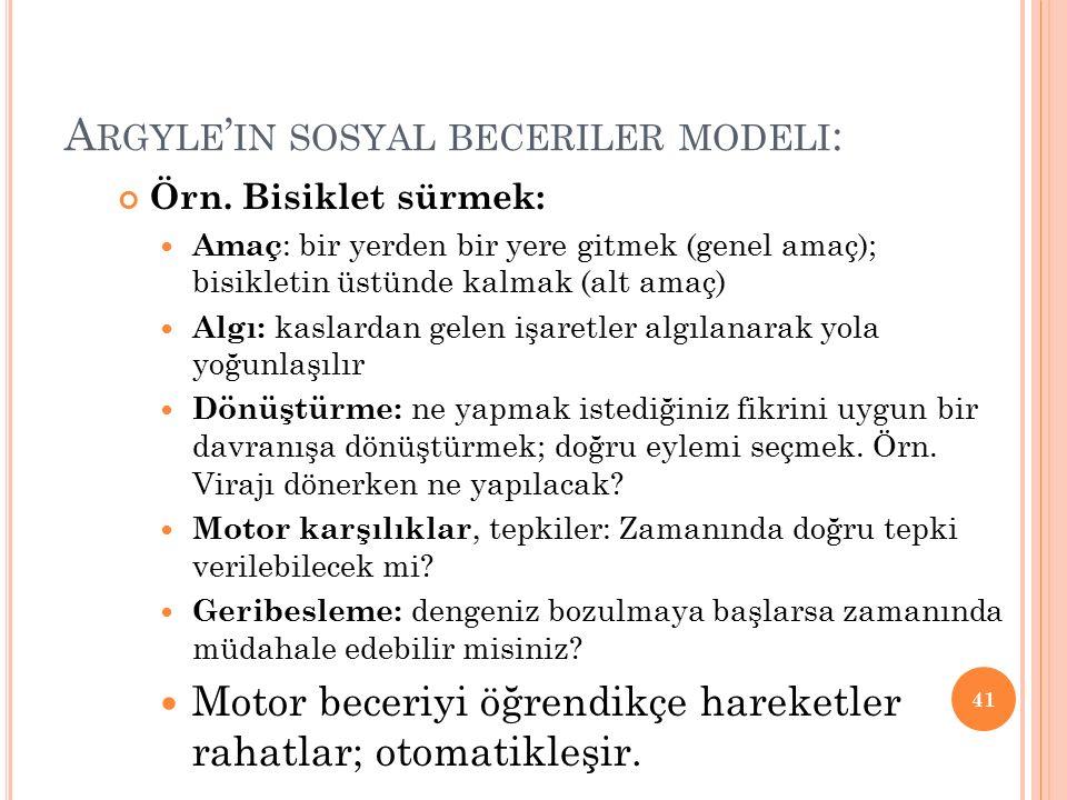 A RGYLE ' IN SOSYAL BECERILER MODELI : Örn.