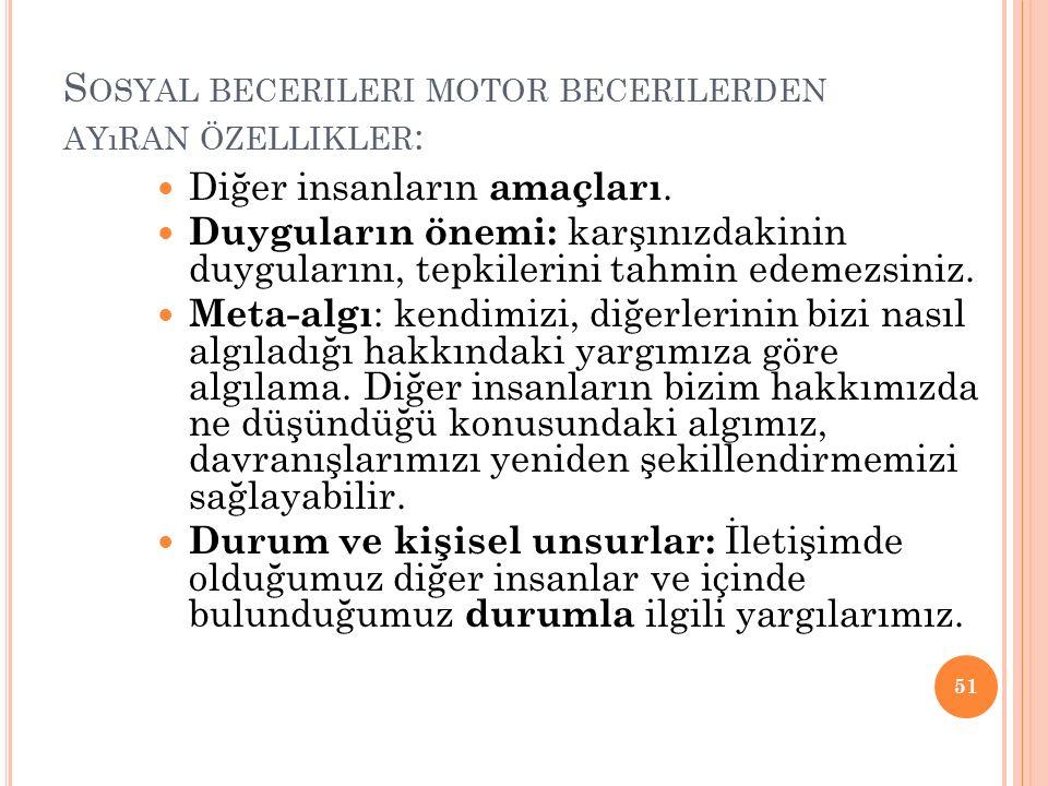 S OSYAL BECERILERI MOTOR BECERILERDEN AYıRAN ÖZELLIKLER : Diğer insanların amaçları.