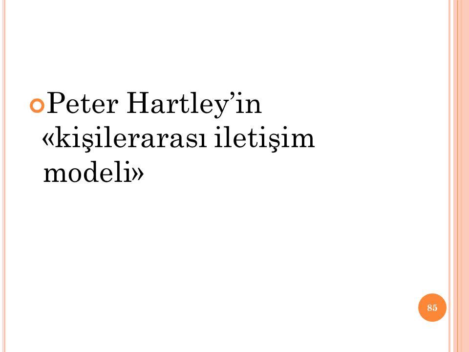 Peter Hartley'in «kişilerarası iletişim modeli» 85
