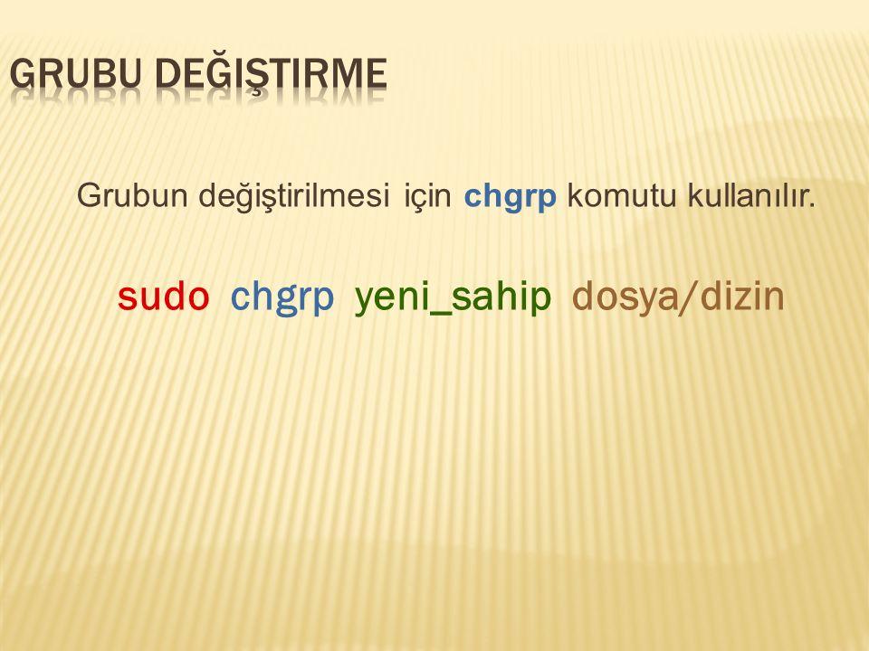 Grubun değiştirilmesi için chgrp komutu kullanılır. sudo chgrp yeni_sahip dosya/dizin