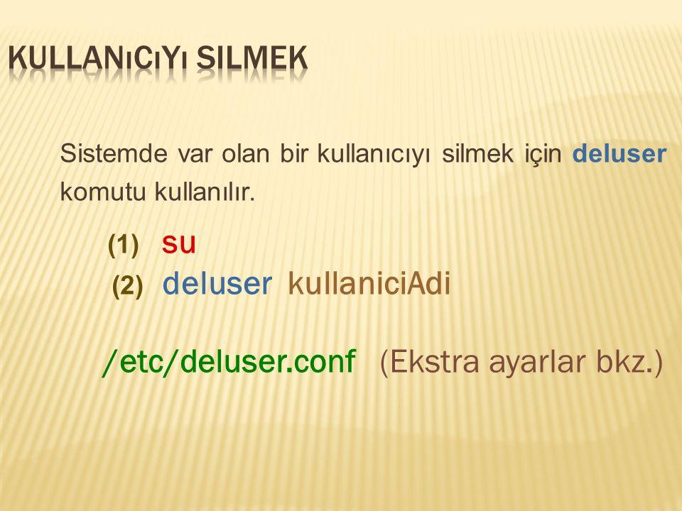 Sistemde var olan bir kullanıcıyı silmek için deluser komutu kullanılır.