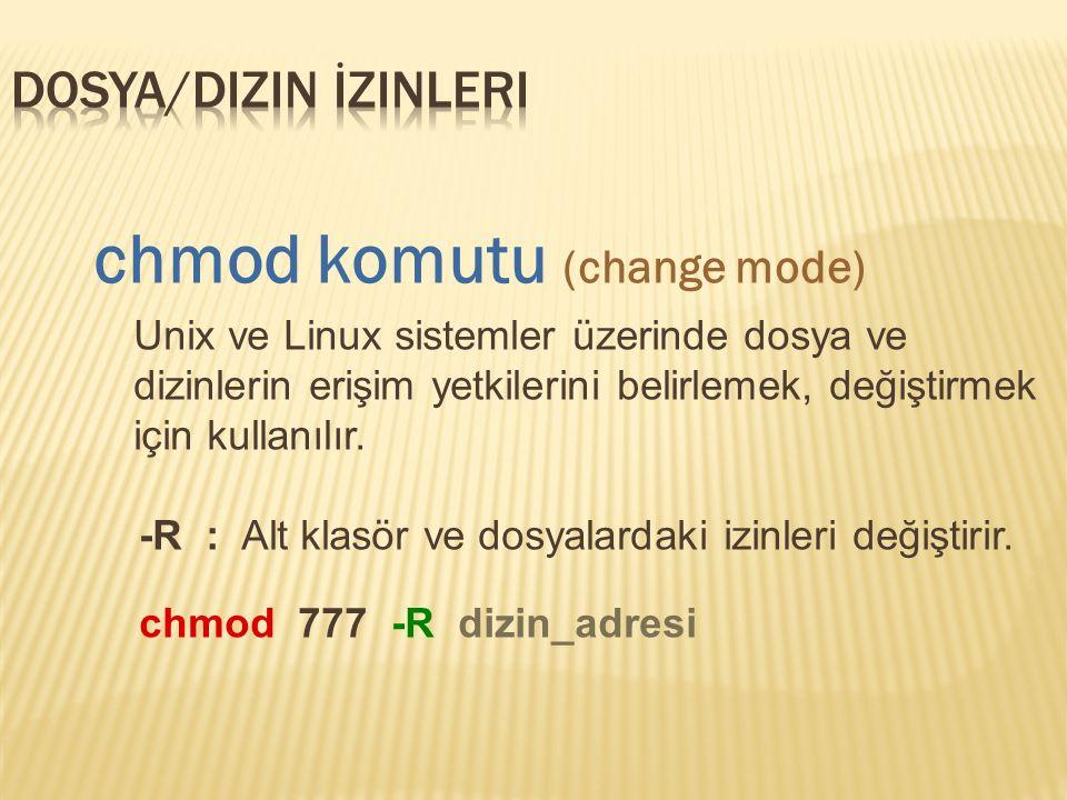 chmod komutu (change mode) Unix ve Linux sistemler üzerinde dosya ve dizinlerin erişim yetkilerini belirlemek, değiştirmek için kullanılır.
