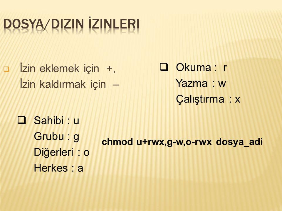  İzin eklemek için +, İzin kaldırmak için –  Okuma : r Yazma : w Çalıştırma : x  Sahibi : u Grubu : g Diğerleri : o Herkes : a chmod u+rwx,g-w,o-rwx dosya_adi