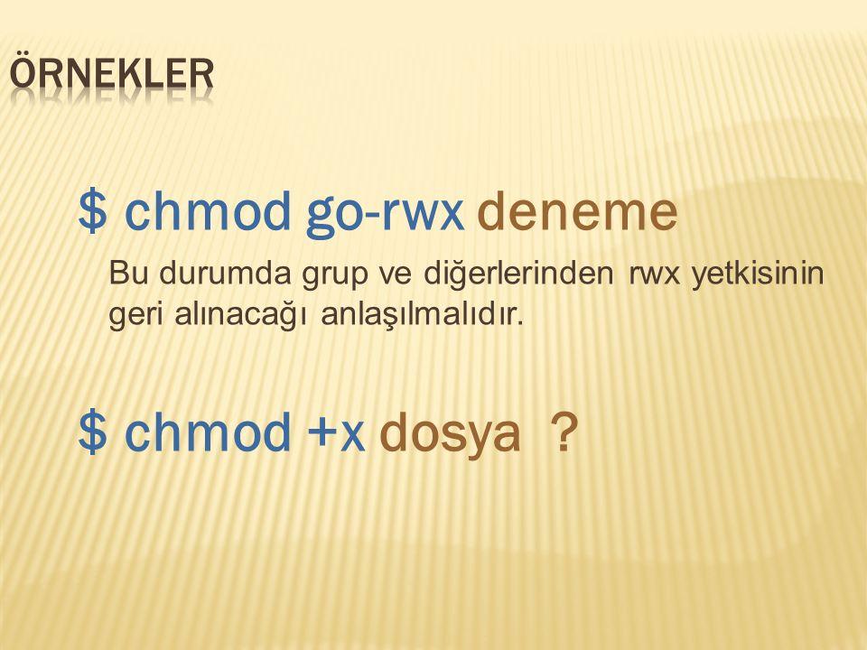 $ chmod go-rwx deneme Bu durumda grup ve diğerlerinden rwx yetkisinin geri alınacağı anlaşılmalıdır.