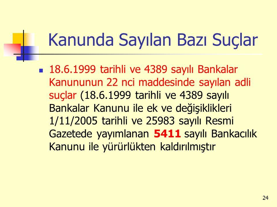 Kanunda Sayılan Bazı Suçlar 18.6.1999 tarihli ve 4389 sayılı Bankalar Kanununun 22 nci maddesinde sayılan adli suçlar (18.6.1999 tarihli ve 4389 sayıl