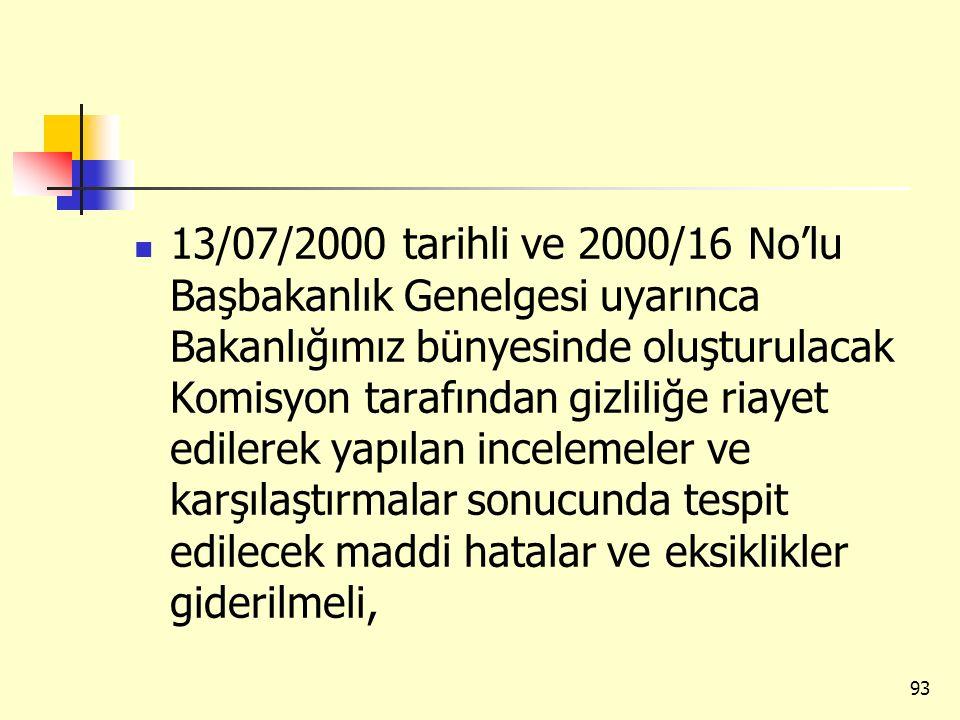 13/07/2000 tarihli ve 2000/16 No'lu Başbakanlık Genelgesi uyarınca Bakanlığımız bünyesinde oluşturulacak Komisyon tarafından gizliliğe riayet edilerek