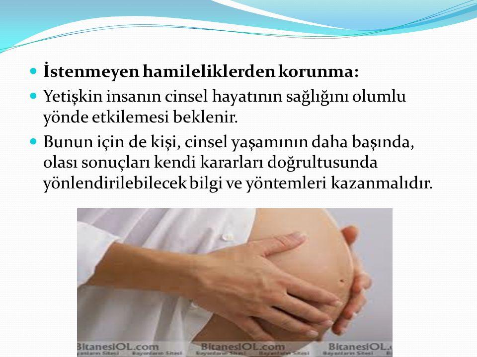 İstenmeyen hamileliklerden korunma: Yetişkin insanın cinsel hayatının sağlığını olumlu yönde etkilemesi beklenir. Bunun için de kişi, cinsel yaşamının