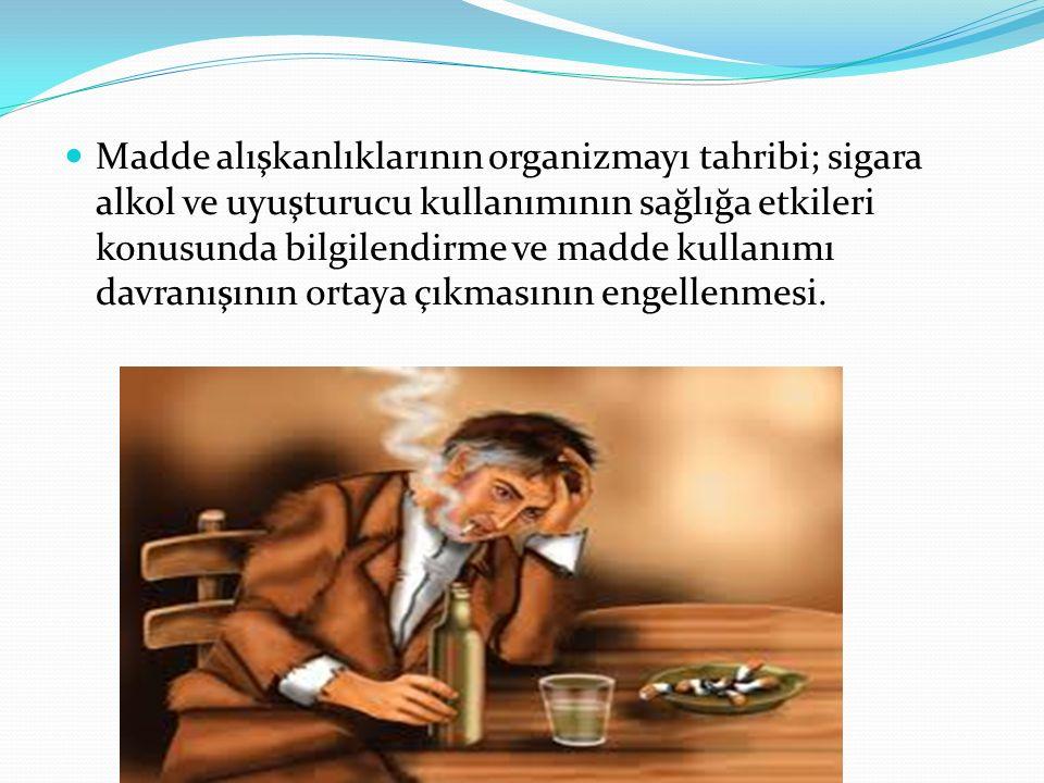 Madde alışkanlıklarının organizmayı tahribi; sigara alkol ve uyuşturucu kullanımının sağlığa etkileri konusunda bilgilendirme ve madde kullanımı davra