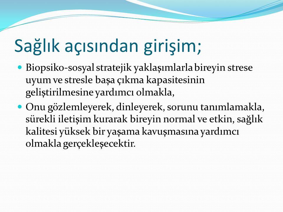 Sağlık açısından girişim; Biopsiko-sosyal stratejik yaklaşımlarla bireyin strese uyum ve stresle başa çıkma kapasitesinin geliştirilmesine yardımcı ol