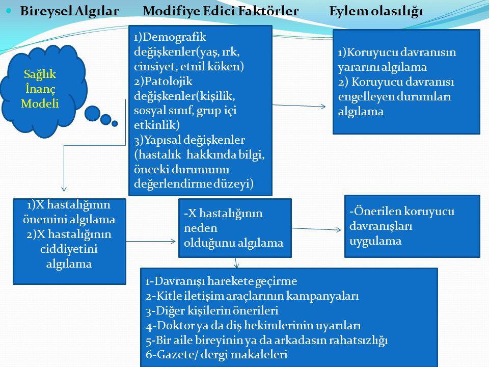 Bireysel Algılar Modifiye Edici Faktörler Eylem olasılığı 1)X hastalığının önemini algılama 2)X hastalığının ciddiyetini algılama 1)Koruyucu davranısı