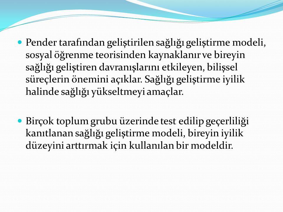 Model dört temel bileşenden oluşmaktadır; 1.Hastalıkla İlgili Bireysel Duyarlılık Algısı 2.