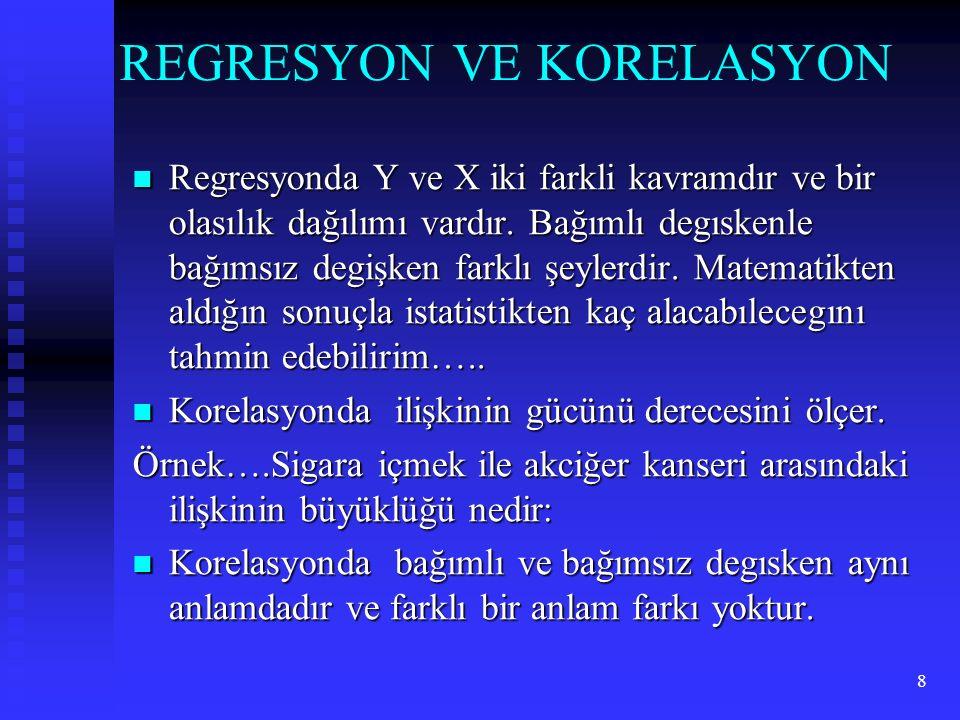 8 REGRESYON VE KORELASYON Regresyonda Y ve X iki farkli kavramdır ve bir olasılık dağılımı vardır. Bağımlı degıskenle bağımsız degişken farklı şeylerd