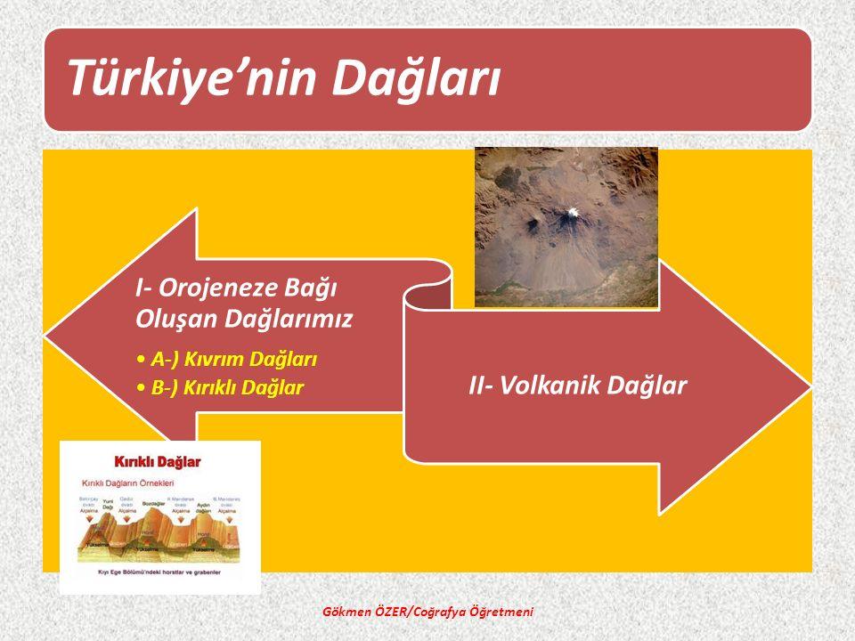 Türkiye'nin Dağları I- Orojeneze Bağı Oluşan Dağlarımız A-) Kıvrım Dağları B-) Kırıklı Dağlar II- Volkanik Dağlar Gökmen ÖZER/Coğrafya Öğretmeni