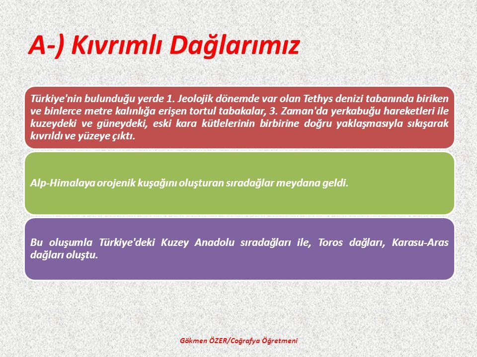 A-) Kıvrımlı Dağlarımız Gökmen ÖZER/Coğrafya Öğretmeni Türkiye nin bulunduğu yerde 1.