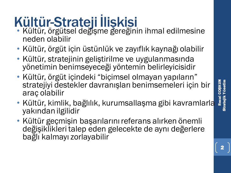 Recai COŞKUN Stratejik Yönetim 2 Kültür-Strateji İlişkisi Kültür, örgütsel değişme gereğinin ihmal edilmesine neden olabilir Kültür, örgüt için üstünl