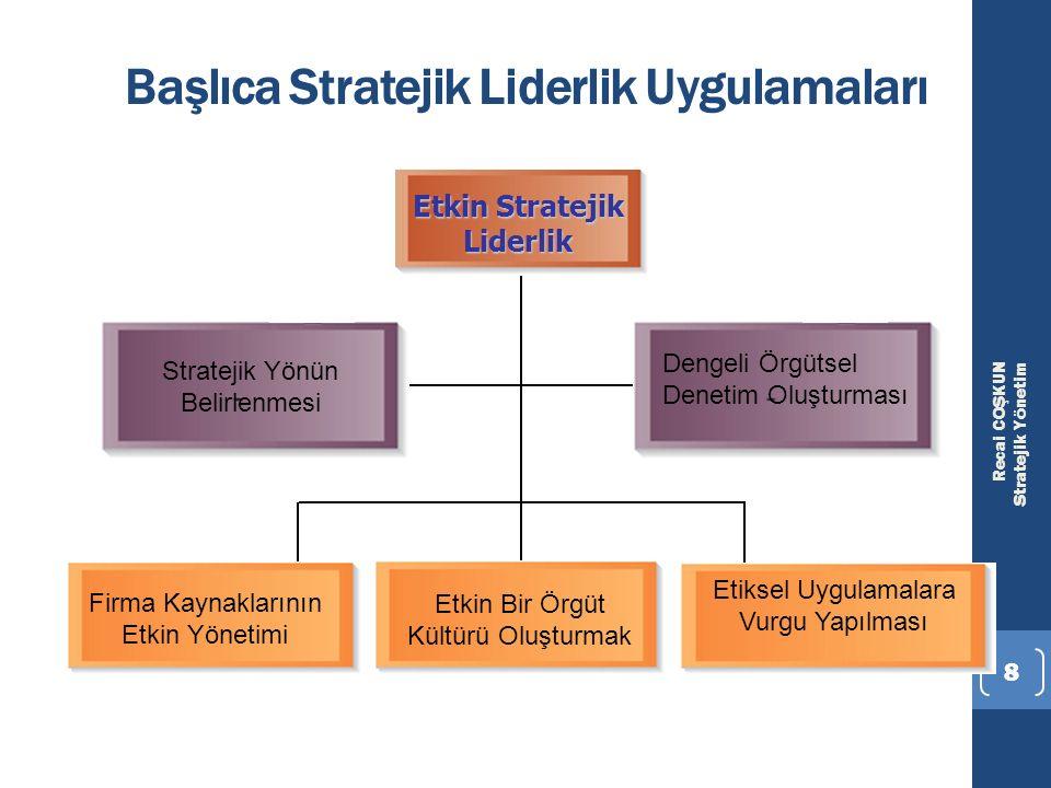Recai COŞKUN Stratejik Yönetim 8 Başlıca Stratejik Liderlik Uygulamaları Etkin Stratejik Liderlik Stratejik Yönün Belirlenmesi Dengeli Örgütsel Deneti