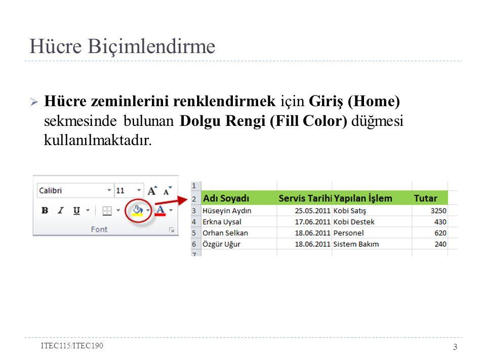  Excel'de hazır hücre stilleri kullanarak, hücre gölgelendirmeleri oldukça hızlı bir şekilde biçimlendirilebilir.