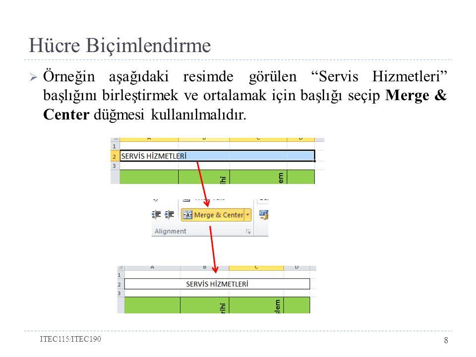 Hücre Biçimlendirme  Excel'de hesaplamalar yapılırken en çok hücre içerisindeki rakamlar kullanılmaktadır.