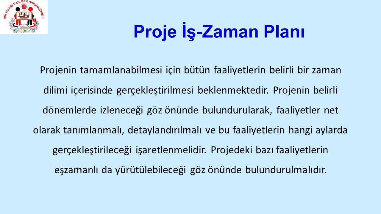 Proje İş-Zaman Planı Projenin tamamlanabilmesi için bütün faaliyetlerin belirli bir zaman dilimi içerisinde gerçekleştirilmesi beklenmektedir.