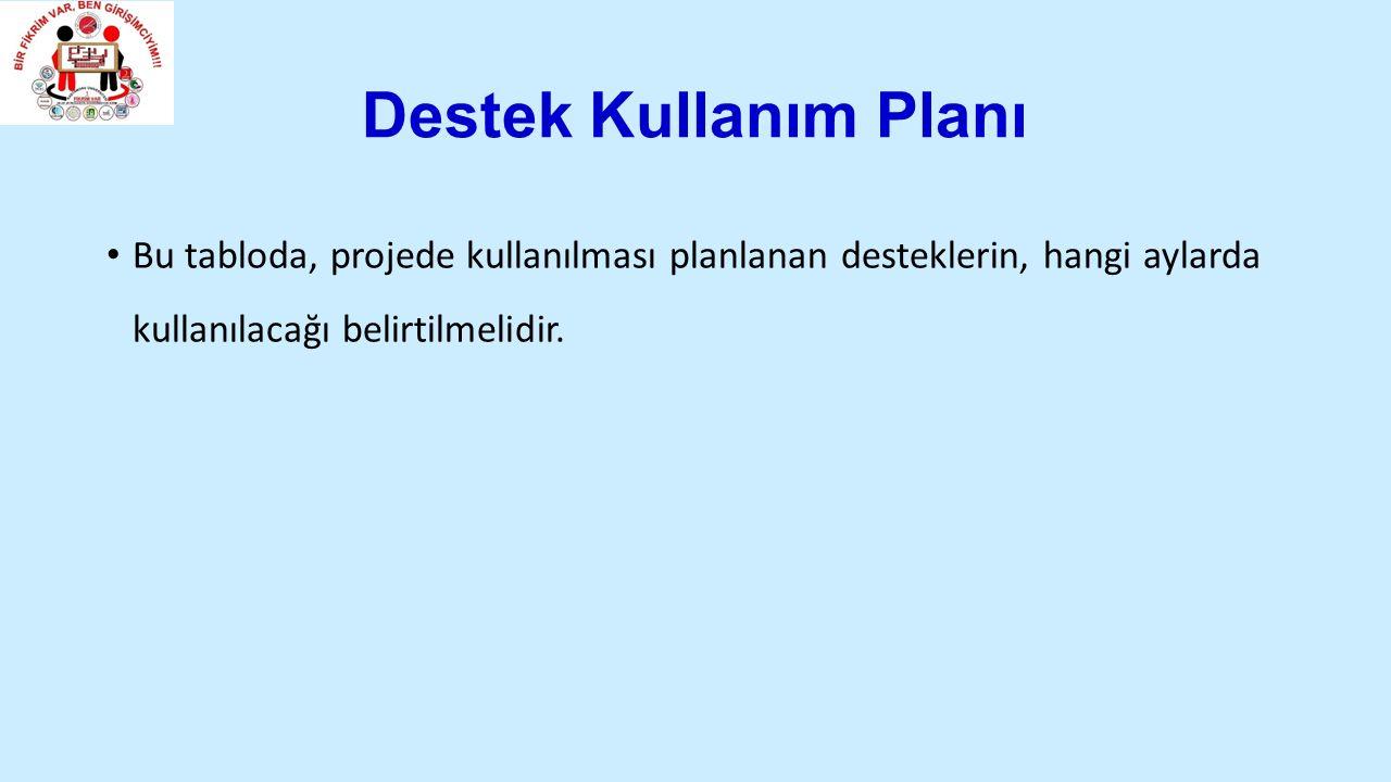 Destek Kullanım Planı Bu tabloda, projede kullanılması planlanan desteklerin, hangi aylarda kullanılacağı belirtilmelidir.