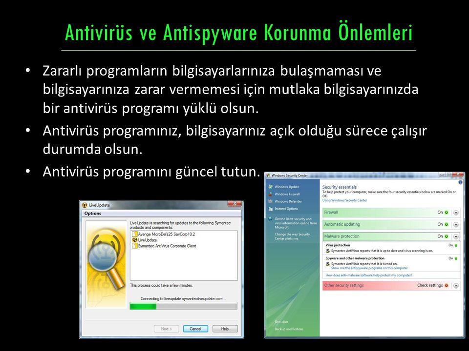 Zararlı programların bilgisayarlarınıza bulaşmaması ve bilgisayarınıza zarar vermemesi için mutlaka bilgisayarınızda bir antivirüs programı yüklü olsu