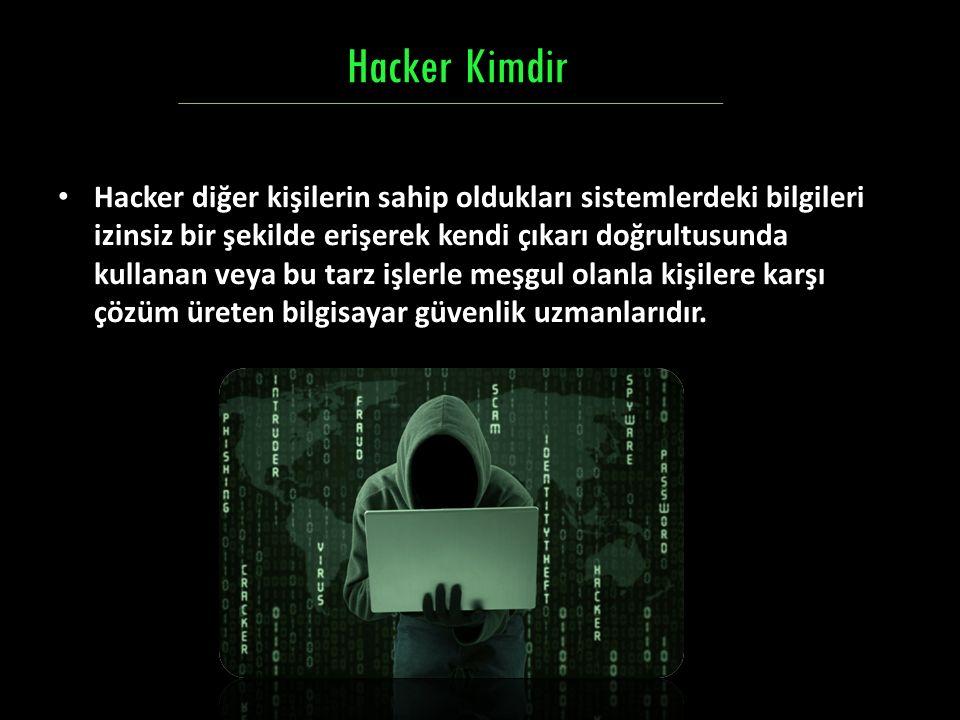 Hacker diğer kişilerin sahip oldukları sistemlerdeki bilgileri izinsiz bir şekilde erişerek kendi çıkarı doğrultusunda kullanan veya bu tarz işlerle m