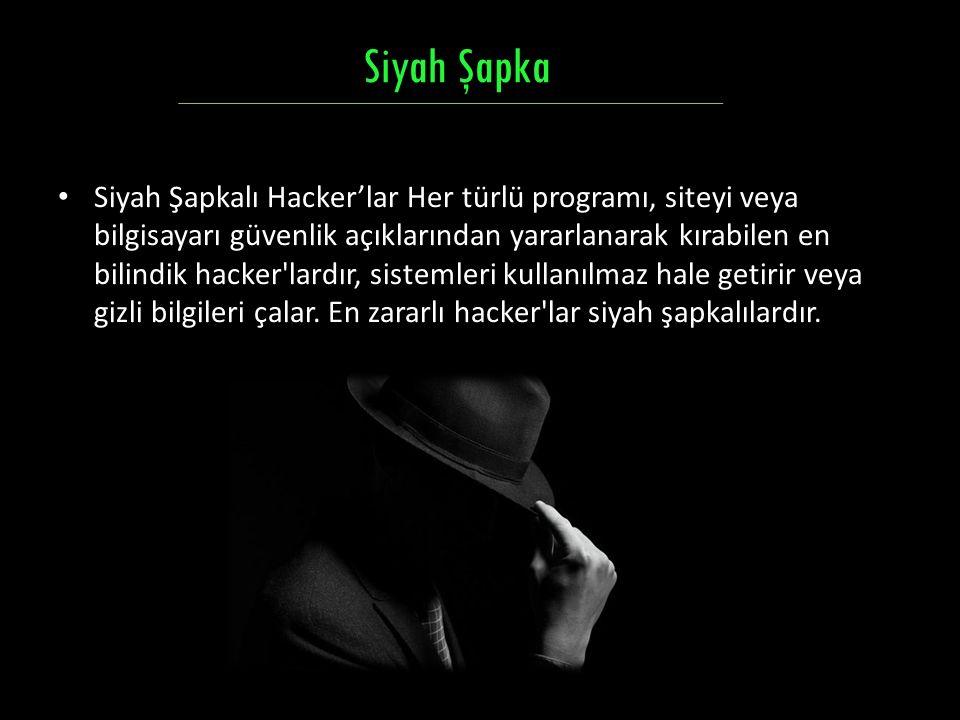 Siyah Şapkalı Hacker'lar Her türlü programı, siteyi veya bilgisayarı güvenlik açıklarından yararlanarak kırabilen en bilindik hacker'lardır, sistemler