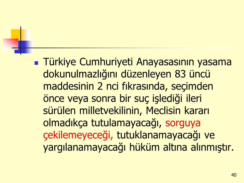 Türkiye Cumhuriyeti Anayasasının yasama dokunulmazlığını düzenleyen 83 üncü maddesinin 2 nci fıkrasında, seçimden önce veya sonra bir suç işlediği ile