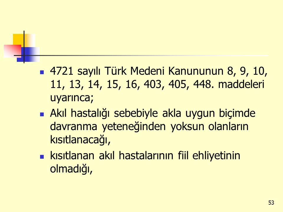 4721 sayılı Türk Medeni Kanununun 8, 9, 10, 11, 13, 14, 15, 16, 403, 405, 448. maddeleri uyarınca; Akıl hastalığı sebebiyle akla uygun biçimde davranm