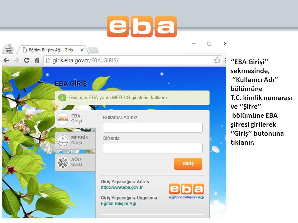 ''EBA Girişi'' sekmesinde, ''Kullanıcı Adı'' bölümüne T.C.
