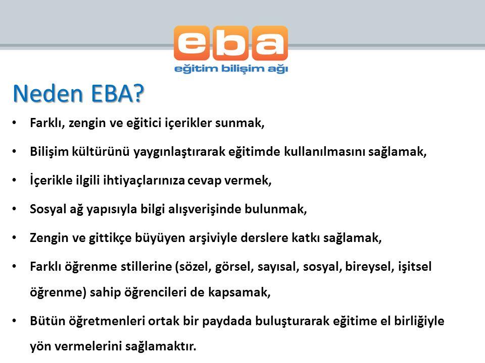 EBA, öğretmenler ve öğrencileri fiziksel sınıf ortamının ötesinde de birbirlerine bağlamaya ve birlikte çalışabilmelerine olanak sağlar.