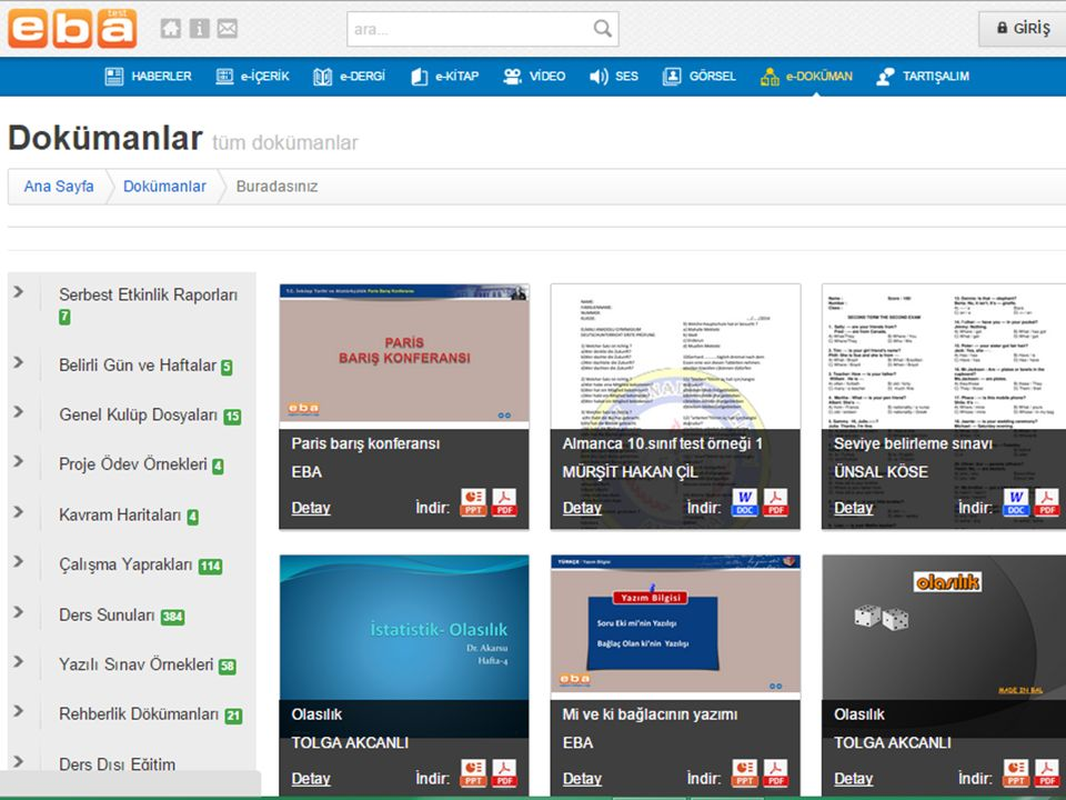 EBA Portal da herhangi bir konuya ve/veya bilgiye dair haber, e-içerik, e-dergi, e-kitap, video, ses, görsel ve herhangi bir konu ile ilgili verilen bilgilere ulaşabilmek için Arama Modülü geliştirilmiştir.