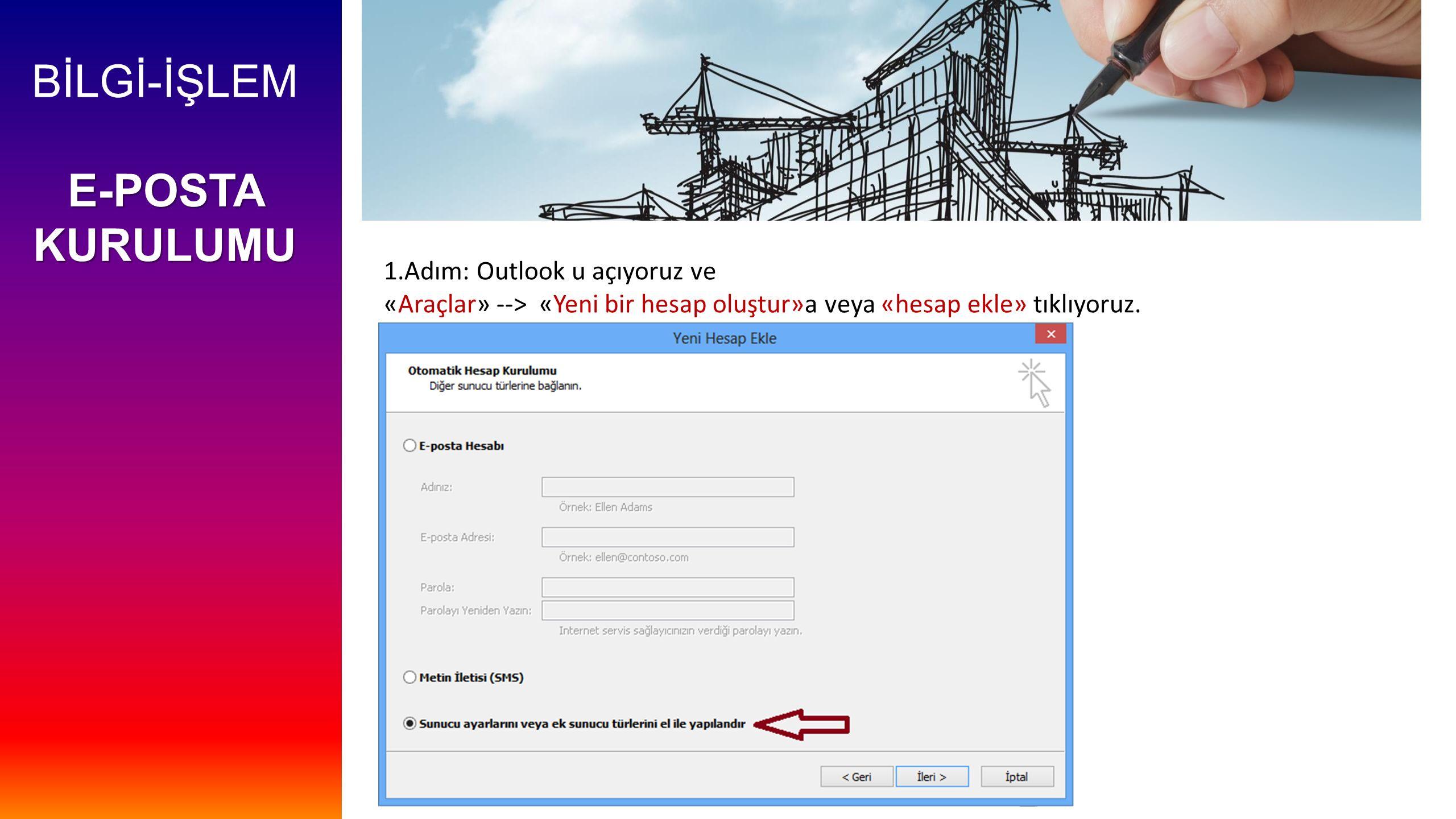 BİLGİ-İŞLEM E-POSTA KURULUMU 1.Adım: Outlook u açıyoruz ve «Araçlar» --> «Yeni bir hesap oluştur»a veya «hesap ekle» tıklıyoruz.
