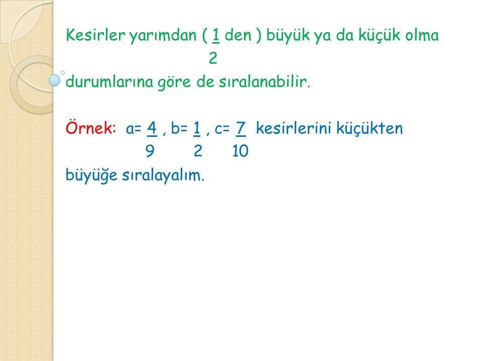 Kesirler yarımdan ( 1 den ) büyük ya da küçük olma 2 durumlarına göre de sıralanabilir. Örnek: a= 4, b= 1, c= 7 kesirlerini küçükten 9 2 10 büyüğe sır