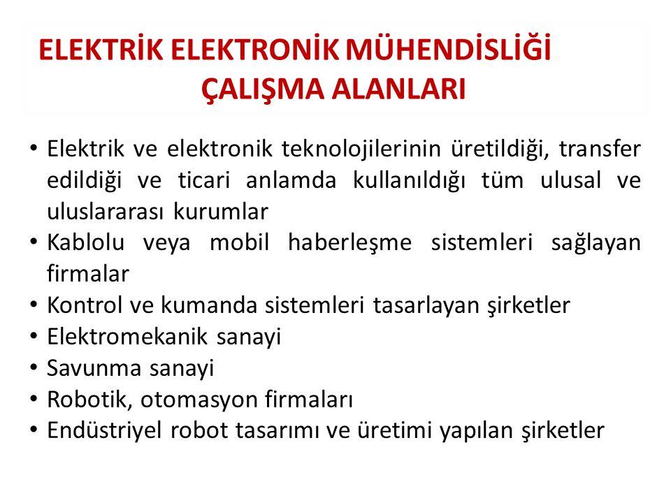 ELEKTRİK ELEKTRONİK MÜHENDİSLİĞİ ÇALIŞMA ALANLARI Elektrik ve elektronik teknolojilerinin üretildiği, transfer edildiği ve ticari anlamda kullanıldığı
