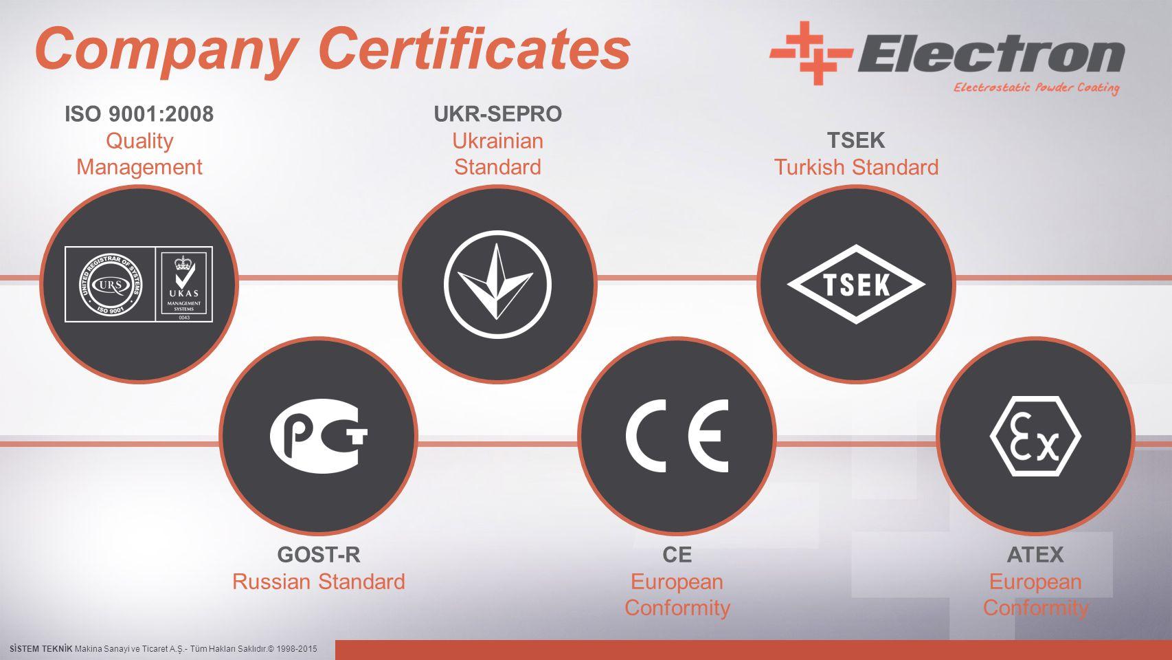 SİSTEM TEKNİK Makina Sanayi ve Ticaret A.Ş.- Tüm Hakları Saklıdır.© 1998-2015 Company Certificates UKR-SEPRO Ukrainian Standard CE European Conformity