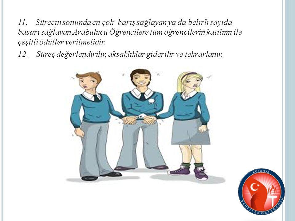 11. Sürecin sonunda en çok barış sağlayan ya da belirli sayıda başarı sağlayan Arabulucu Öğrencilere tüm öğrencilerin katılımı ile çeşitli ödüller ver