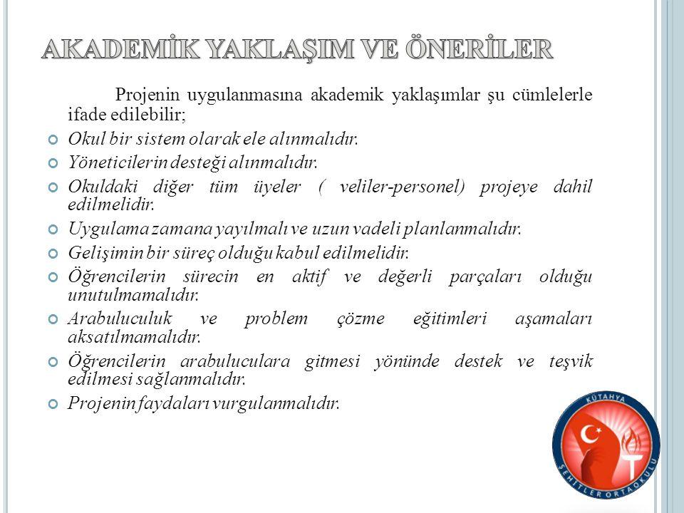 Projenin uygulanmasına akademik yaklaşımlar şu cümlelerle ifade edilebilir; Okul bir sistem olarak ele alınmalıdır.