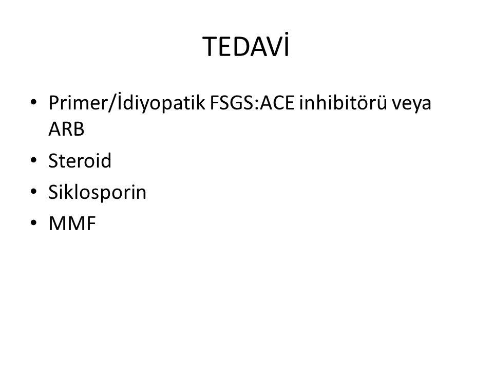 TEDAVİ Primer/İdiyopatik FSGS:ACE inhibitörü veya ARB Steroid Siklosporin MMF