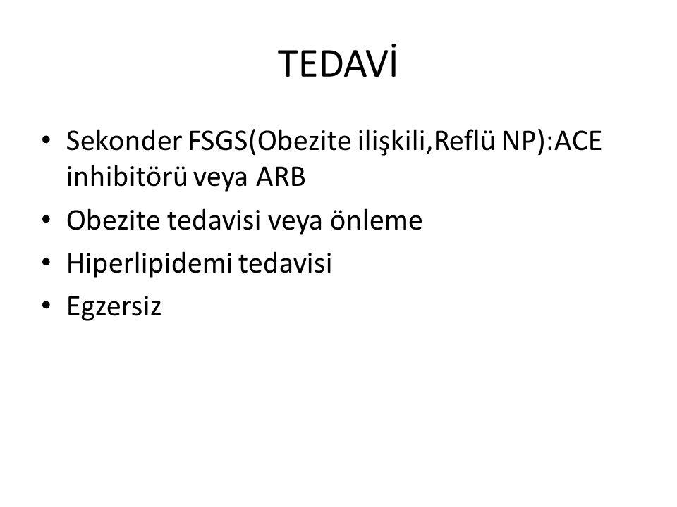 TEDAVİ Sekonder FSGS(Obezite ilişkili,Reflü NP):ACE inhibitörü veya ARB Obezite tedavisi veya önleme Hiperlipidemi tedavisi Egzersiz