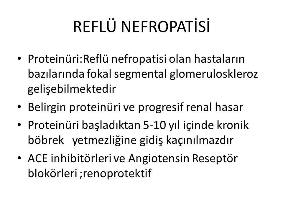 REFLÜ NEFROPATİSİ Proteinüri:Reflü nefropatisi olan hastaların bazılarında fokal segmental glomeruloskleroz gelişebilmektedir Belirgin proteinüri ve progresif renal hasar Proteinüri başladıktan 5-10 yıl içinde kronik böbrek yetmezliğine gidiş kaçınılmazdır ACE inhibitörleri ve Angiotensin Reseptör blokörleri ;renoprotektif