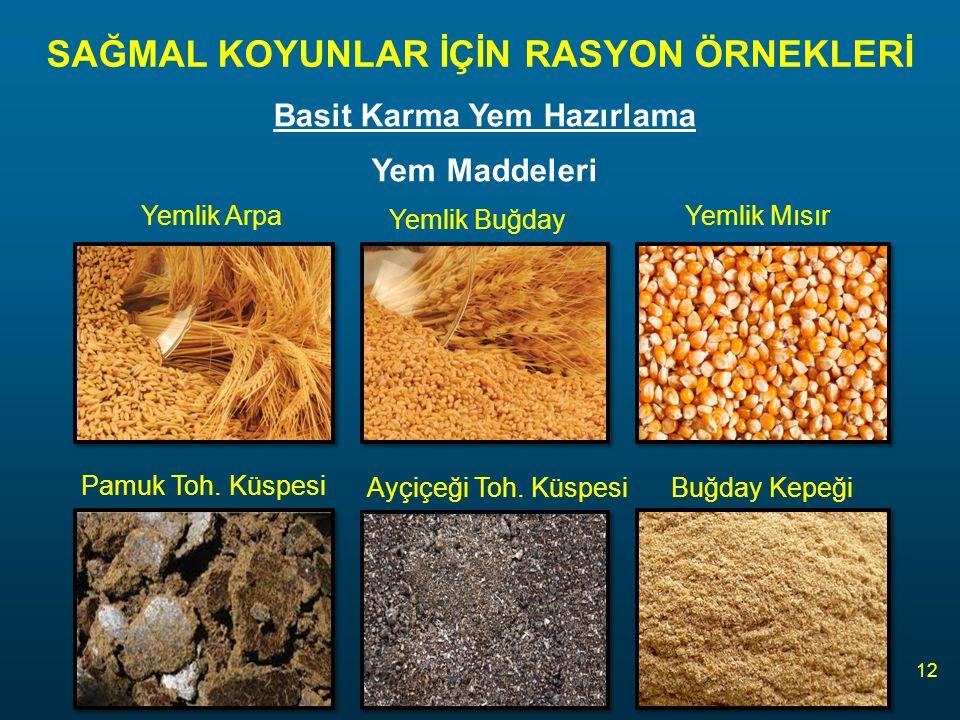 SAĞMAL KOYUNLAR İÇİN RASYON ÖRNEKLERİ 12 Basit Karma Yem Hazırlama Yem Maddeleri Yemlik Arpa Yemlik Buğday Pamuk Toh.